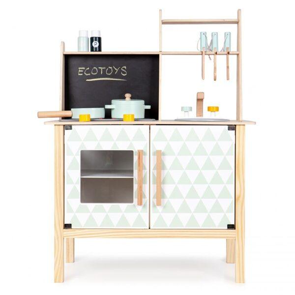 EcoToys koka rotaļu virtuve ar piederumiem CA12092