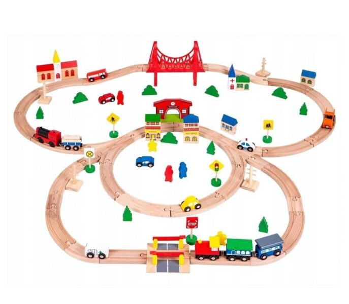 EcoToys rotaļu koka dzelzceļš HM014665