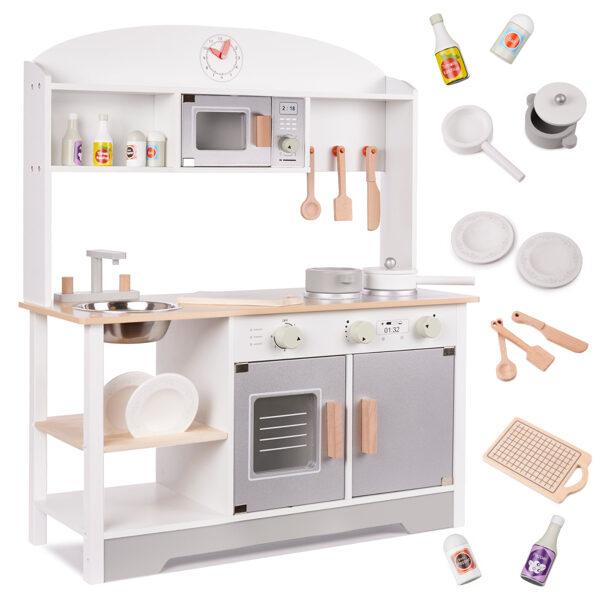 Rotaļu koka virtuve ar piederumiem Ikonka Modern Classic
